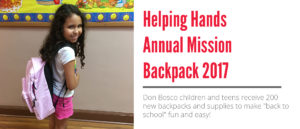Helping Hands Annual Mission Backpack 2017
