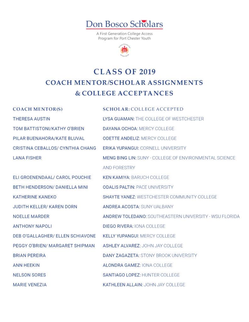Don Bosco Scholars Class of 2019 Coach/Scholar College Acceptances List