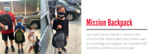 Mission Back Pack delivers back to school bags and supplies for more than 200 Don Bosco children each school year.